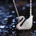 2016 Nova Marca Projeto animal de Cristal Cheio CZ Pingente de cisne colar Para Mulheres Presente Da Menina Cadeia boho 925 sterling silver jóias