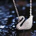 2016 Nueva Marca de Diseño animal Cristalino Lleno CZ Pendiente del cisne collar De Regalo Muchacha de Las Mujeres de boho Cadena de plata esterlina 925 joyería