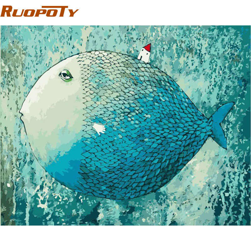 RUOPOTY Frame Cartoon Sleeping Fish DIY Painting By Numebrs Handpainted Oil Painting Wall Art Picture Gift For Children Artwork