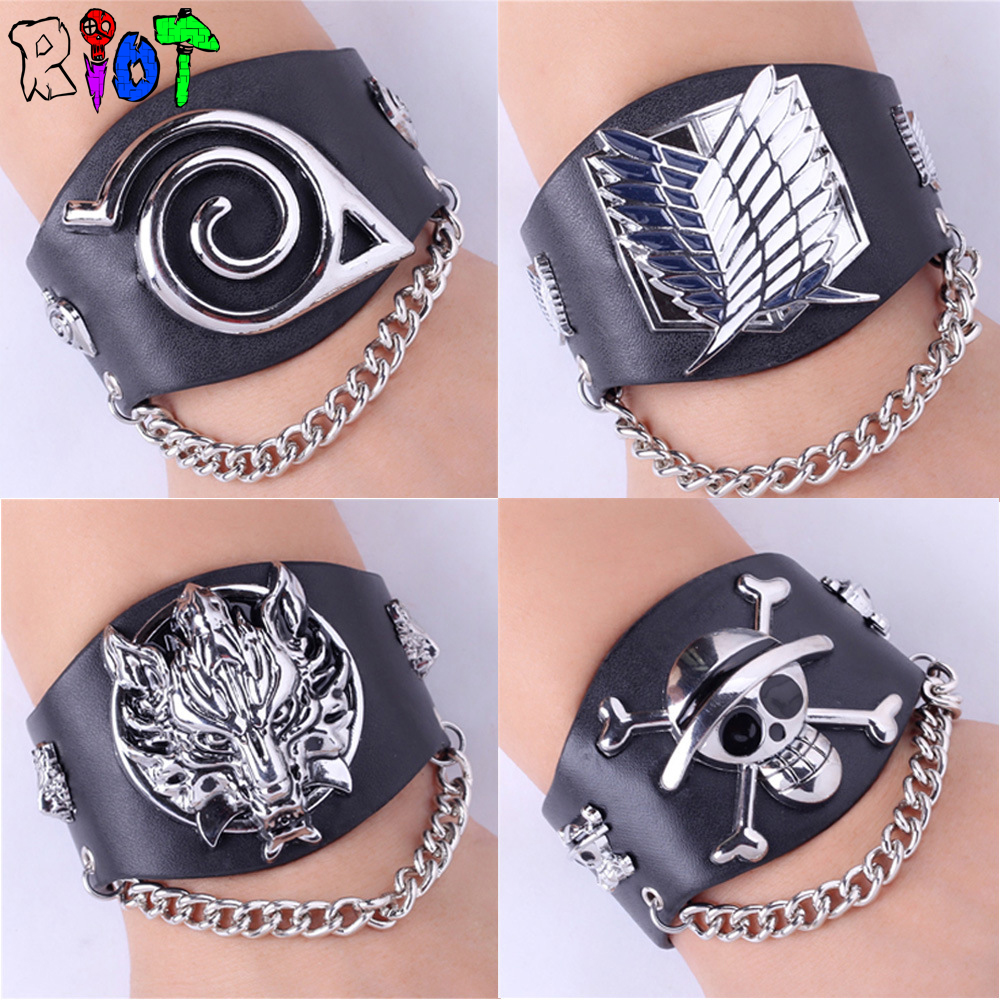 Anime game One piece Naruto Attack on Titan Final fantasy Wide leather Buckle Rock Punk chain bracelet charms Unisex gift Bangle