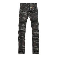 New Fashion Men Skinny Camouflage Pants Military Tactical Trousers Patchwork Embroidery Mens Stretch Jeans With Zipper