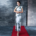 The Fashion New Lace Vintage Modified Long Dress With Printing Ink and Wash Classical Cheongsam