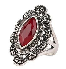Men Rings Big Black Red Precious Stones Antique Silver Ring For Men Women Retro Texture Engraving Model Wholesale Lover ring