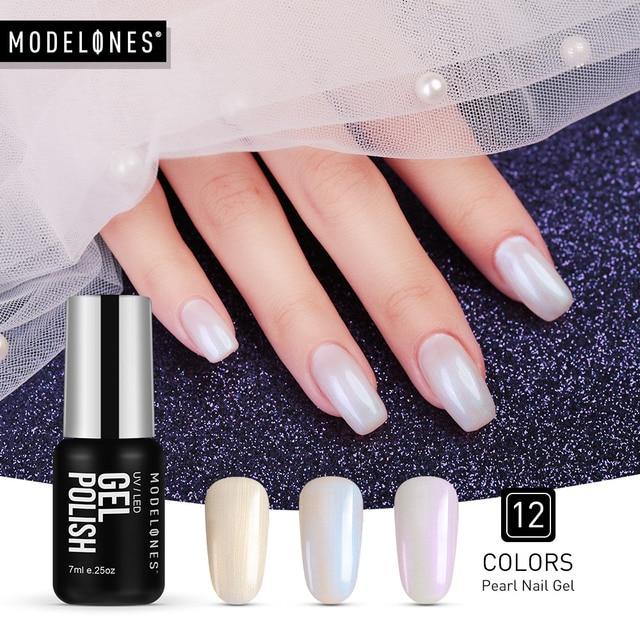 Modelones 7 מיליליטר UV אופנה מעטפת ציפורניים ג 'ל פולני Led מנורת לאורך זמן פרל UV נייל פריימר פולני לבן צבע לכה