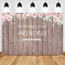 NeoBack Flower Wooden Baby Shower Backdrop Welcome Home Princess Party Background Photography