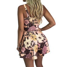 Women Summer Floral Printed Sleeveless V-Neck Bow Knot Jumpsuit Playsuit women overalls jumpsuit romper women #0314