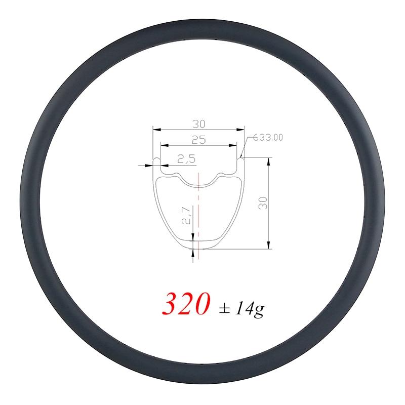 320g ULTRA LIGHT 29er MTB XC 30mm clincher tubeless carbon rim 30mm deep UD matte glossy