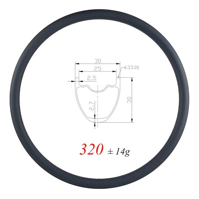320g קל במיוחד 29er MTB XC 30mm נימוק מכריע ללא פנימית פחמן שפת 30mm עמוק UD מט מבריק 24H 28H 32H חצץ גלגל