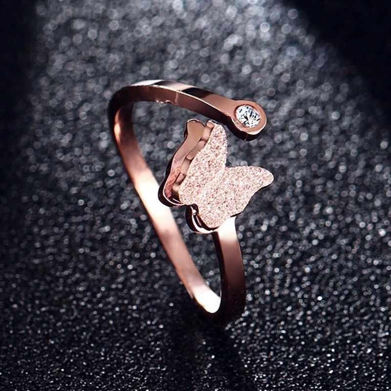 ผู้หญิงชุดเครื่องประดับผีเสื้อสร้อยคอแหวนต่างหู Rose Gold Zircon Charm Matte สำเร็จรูปหญิงของขวัญ