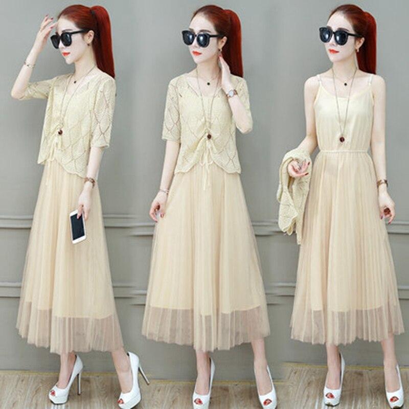 Women Suits Casual Clothing Sets Crop Top Fold Tulle dress Blouse 2 Piece Dress Sets Summer Dress Suit Twin Sets Plus Size 3