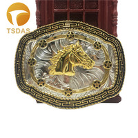 Fashion Men's Cool 3D Gold Horse Belt Buckle With 109*85mm Metal Cowboy Belt Buckle Head With Continous Stock