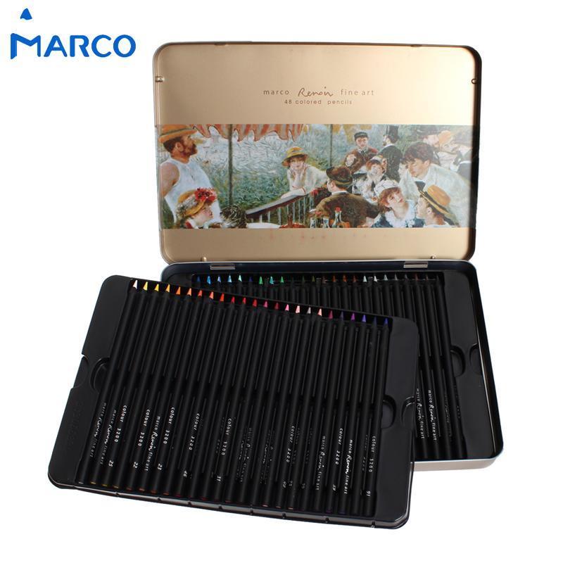 24 36 48colors Marco raffine  Black Wood Non-toxic Color Pencils Lapis De Cor Profissional Iron Boxed Colored Pencil