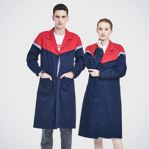 Image 2 - Men Navy Blue Work Coat Poly Cotton Long Sleeve Lab Coat With Reflective Tapes Workwear