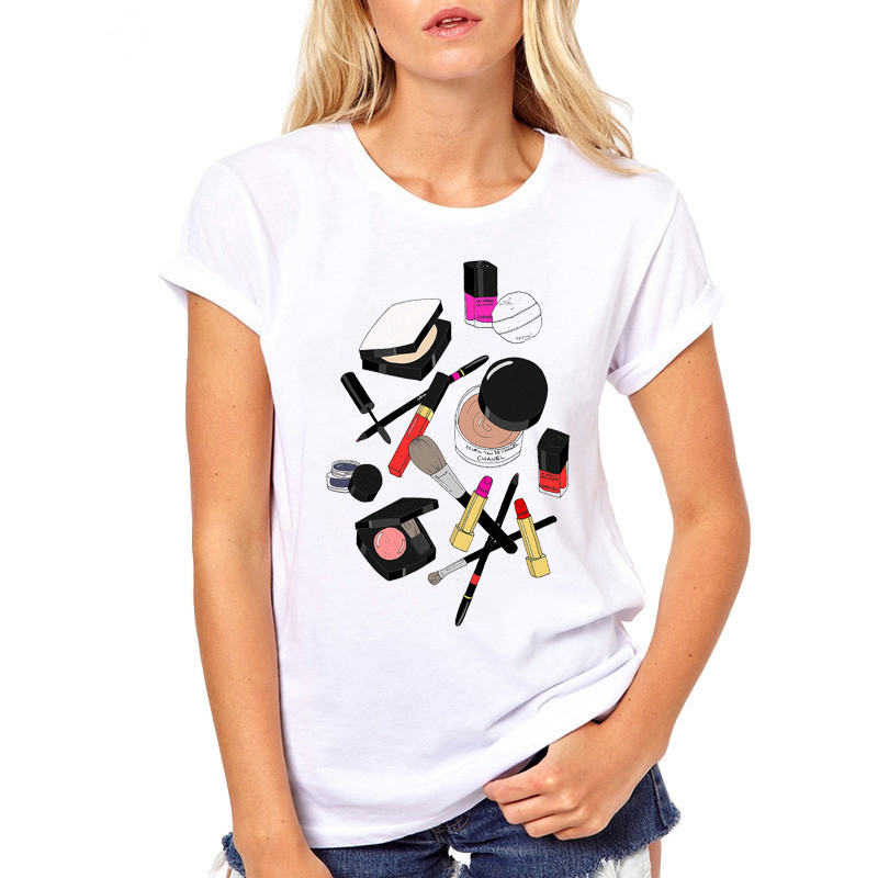 New Fashion printed   t     shirt   for women White tee   shirt   femme summer tops hipster tees