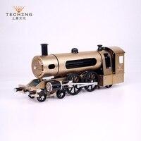Полный металла с ЧПУ собраны двумя колесами паровоз игрушки модель здания Наборы для исследования промышленности изучения/игрушки/подарок