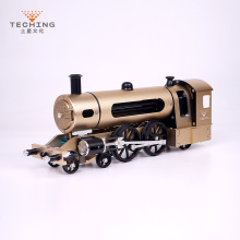 Full CNC Metal Assembled Twin wheels Steam Train Toy Model Building Kits for Researching Industry Studying / Toy / Gift full metal assembled single cylinder gasoline engine model building kits for researching industry learning studying toy gift