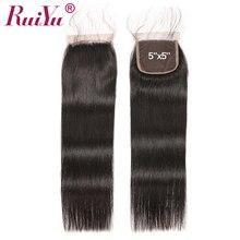 RUIYU Hair 5×5 Lace Closure Human Hair Weave Closures Bleached Knots With Baby Hair Peruvian Straight Hair Natural Color Remy