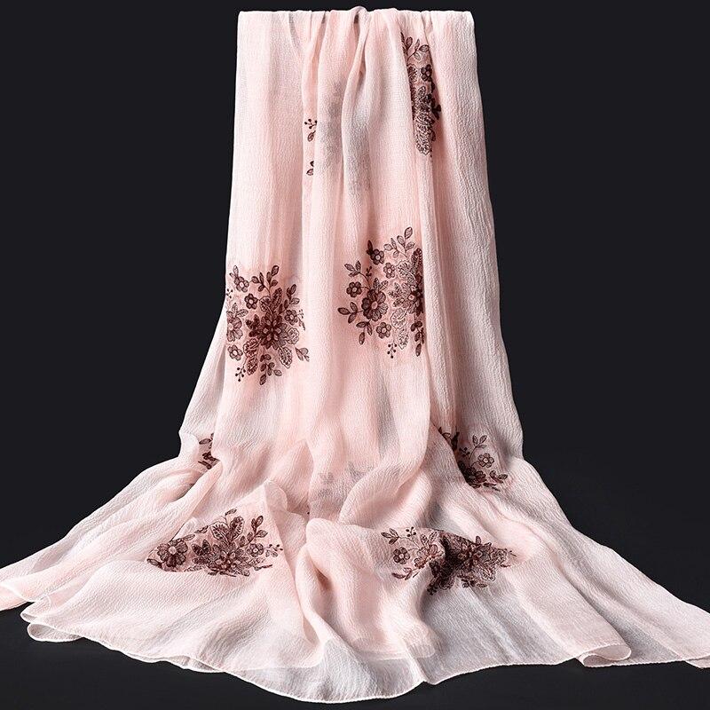 100% Pure écharpe foulard en soie femmes de luxe 2019 Hangzhou soie châles et enveloppes pour dames grande taille imprimé naturel réel foulards en soie