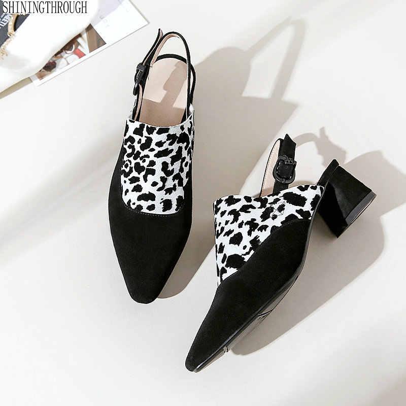2019 ฤดูร้อนเสือดาวหนังรองเท้าผู้หญิง pointed toe shallow หนังนิ่มหนังผู้หญิงปั๊มรองเท้าส้นสูงรองเท้าผู้หญิง