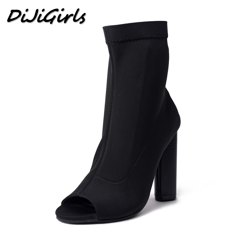 DiJiGirls Women High Heels Boots Shoes Woman Fashion Peep toe Thick Heel black Ankle Short Summer Sexy Stretch Boots Size 35-40 цены онлайн
