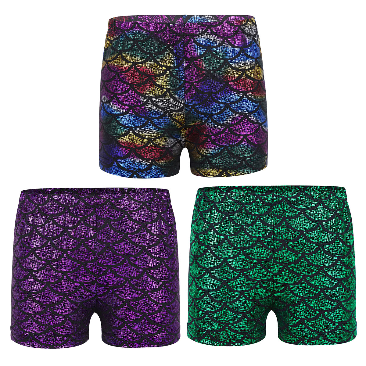 Agoky Kids Girls Shiny Fish Mermaid Scales Printed Dance Gymnastic Workout Shorts
