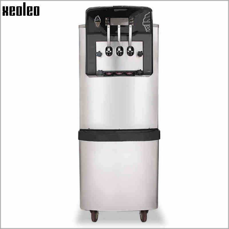 Xeoleo 3 Flavors Ice cream  maker Fresh-Keep Function Commercial Ice cream machine with Pre-Cooling 36L/H Stainless steel xeoleo commercial induction 3500w stainless steel induction cookers with timing for hotpot soup stewing stir fly
