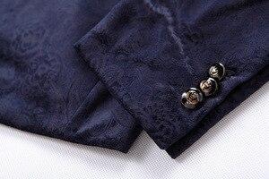 Image 3 - PYJTRL זכר רטרו בציר חיל הים כחול פרחוני הדפסה מזדמן קטיפה בלייזר Homme עיצוב Casacas גברים מעיל Slim Fit חליפת מעיל