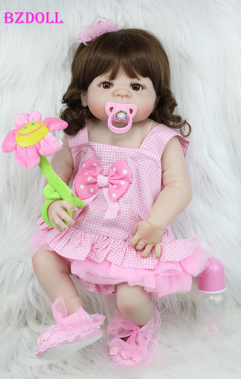 55cm Full Body Silicone Reborn Girl Baby Doll Toys Sweetly Newborn Princess Toddler Babies Doll Birthday