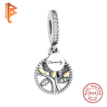 Unique 925 Sterling Silver European Household Tree Crystal Charms Beads Match Pandora Bracelet Pendant Genuine Jewellery Making