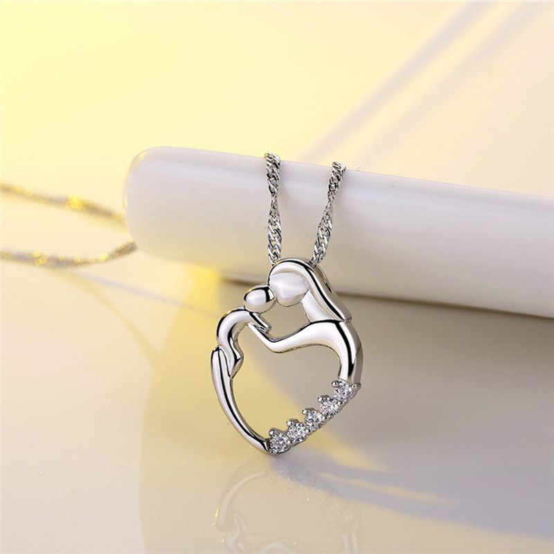 BOAKO Moms Jewelry Birthday Gift For Mother Baby Heart Charm Pendant Mom Daughter Son Child Family