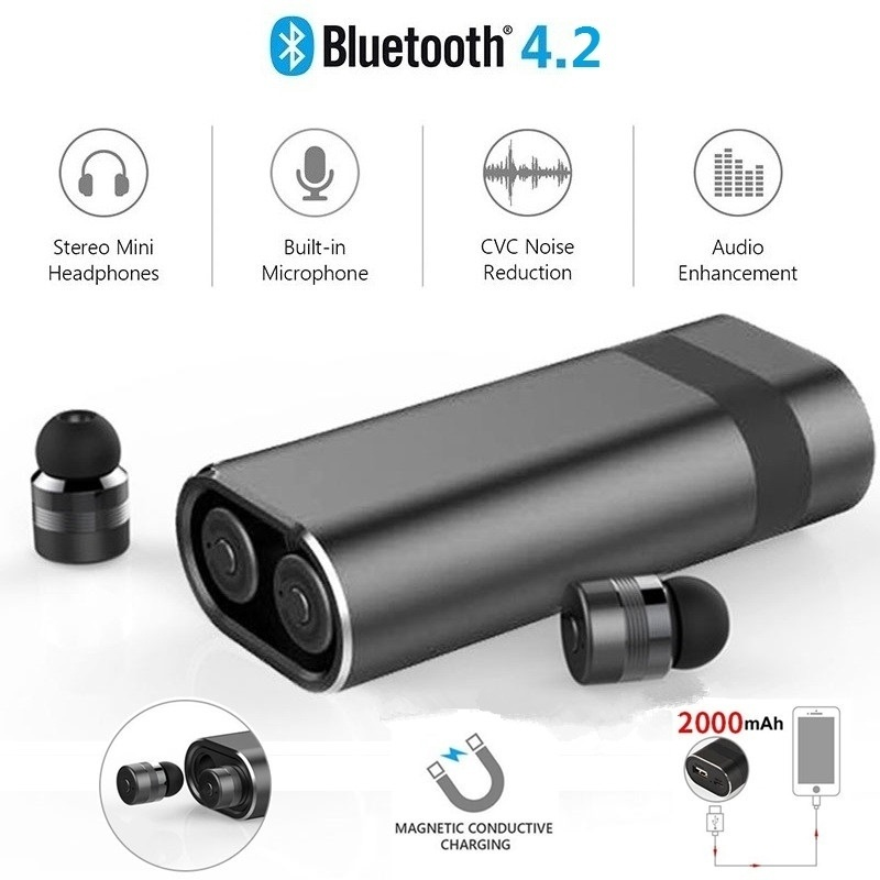 1 Pair Mini Wireless In Ear Bluetooth 4 2 Earphone With Magnetic Charger Power Bank Earbuds