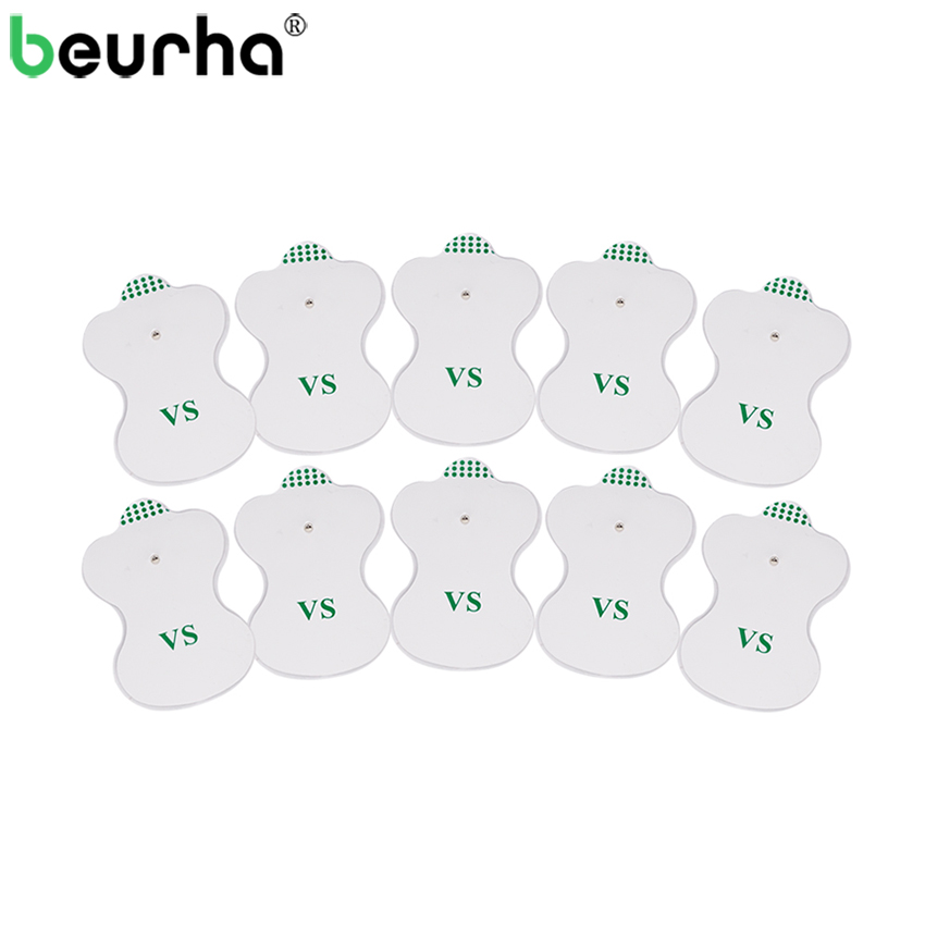Beurha 10PCS White Electrode Pads Digital For Tens Acupuncture Digital Therapy Machine Massager Pad Medium Frequency 20pcs electrode pads for digital tens therapy machine electronic cervical vertebra physiotherapy massager pad medium frequency