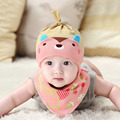 Spring Autumn Children Hedging Cap + Triangel Scarf Bibs Suit Candy-Colored Cotton Baby Beanie Hat sets for 0-1year New Born D1
