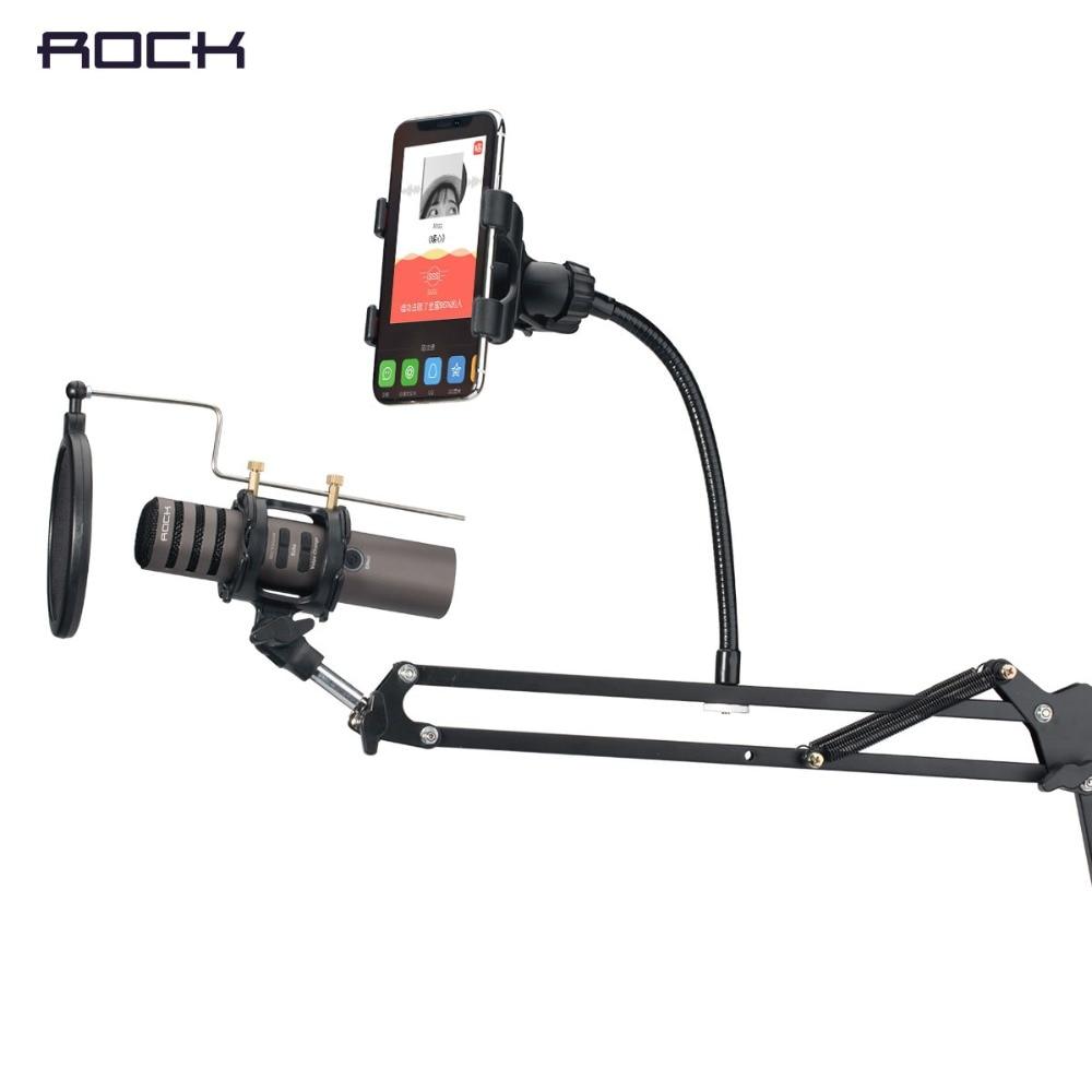 ROCK Microphone Stand Avec Support de Téléphone Pour Smartphone, Réglable Stand Pour Microphone de Pliable
