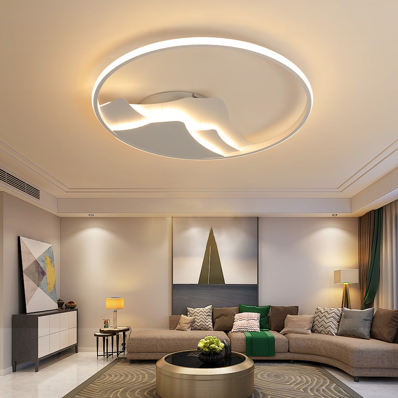 New white round modern LED ceiling lamp living room dining room bedroom study creative aluminum ceiling lamp indoor lighting modern led round ceiling lights living room bedroom dining study warmth lighting remote control porch ceiling lamp za fg68
