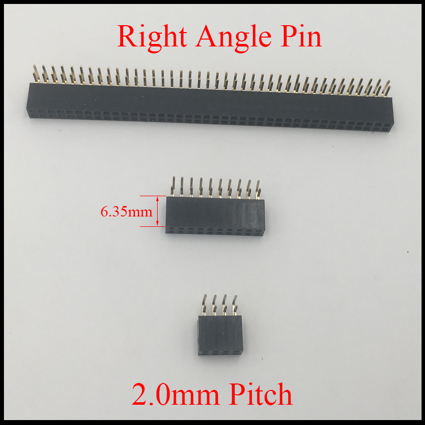 2*20 2x20 2*25 2x25 Pin 40P 50P 2.0mm Pitch Space 6.35mm Height Female Connector Double Two Row Right Angle Pin Header Strip image