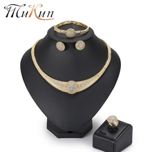 MuKun African Beads Jewelry Set Dubai Wedding Sets Fashion Rhinestone Costume Round Women Necklace 2018 New