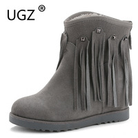 UGZ Fringe Snowboots Woman 2017 Fashion Winter Boots Ladies Solid Color Wedges Ankle Warm Shoes Chestnut