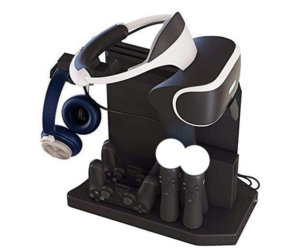 Support Vertical vitrine PSVR PS4 Pro Slim présentoir de charge pour Playstation 4 PS4 VR, ventilateur, refroidisseur, contrôleur chargeur Hub