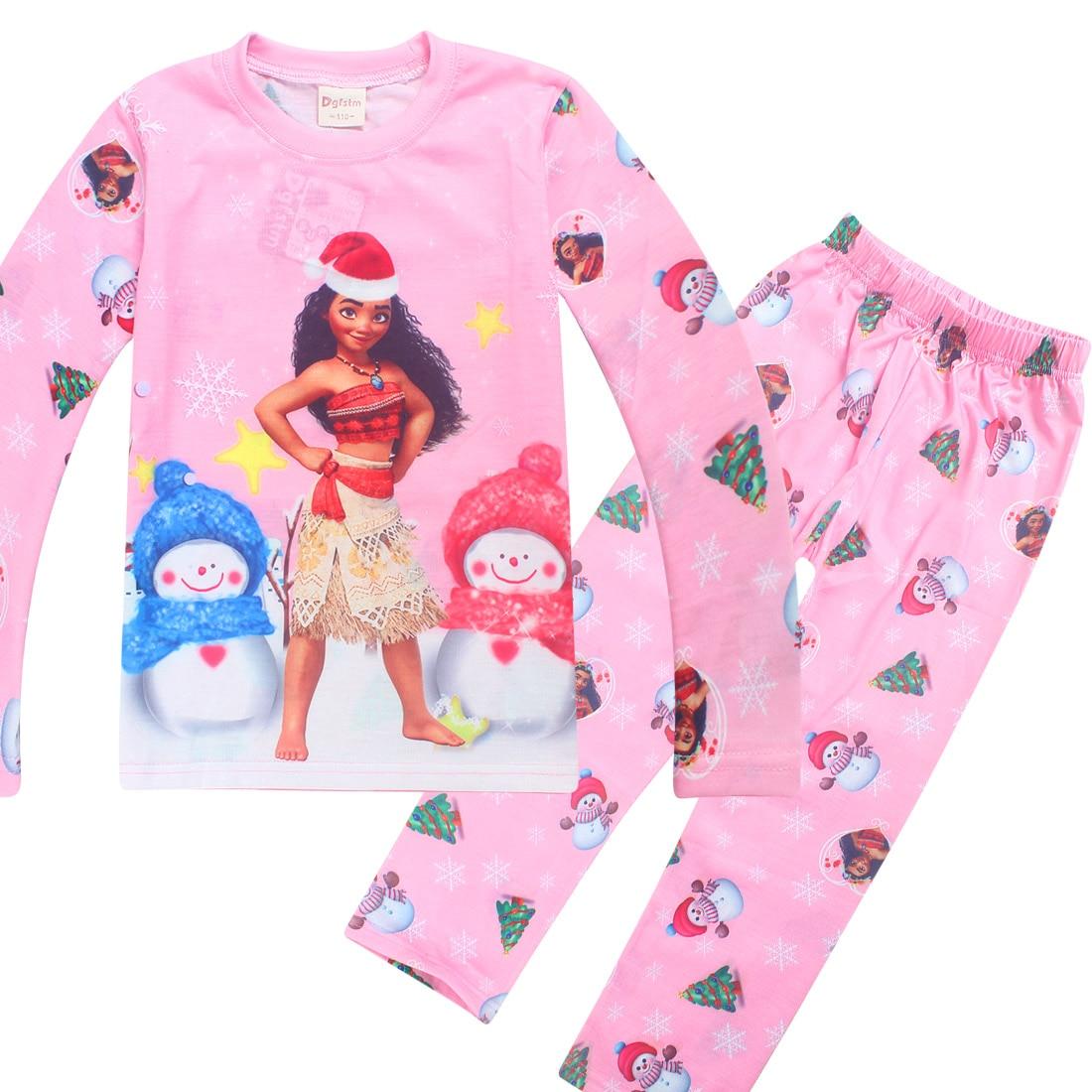 Toddler Girls Pajama Set Long sleeve Cartoon Printing Tee &pants 4-10 years children Winter Moana Christmas Children Nightwear