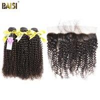BAISI Haar Europäischen Reines Haar Lockig 100% Unverarbeitetes Menschenhaar 10-28 zoll, 3 Bundles und 13x4 Frontal, freies Verschiffen