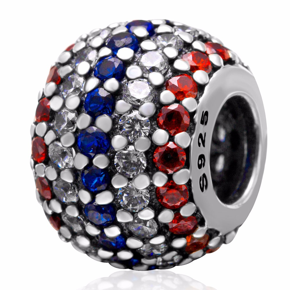 925 sterling silver French flag beads women fit pandora DIY necklaces & bracelets Charms jewelry purple rose Crystal - CRYSTAL BEADS store