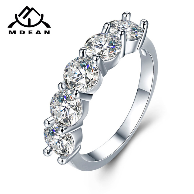 MDEAN White Gold Color Engagement Rings for Women Wedding Clear AAA Zircon Jewel