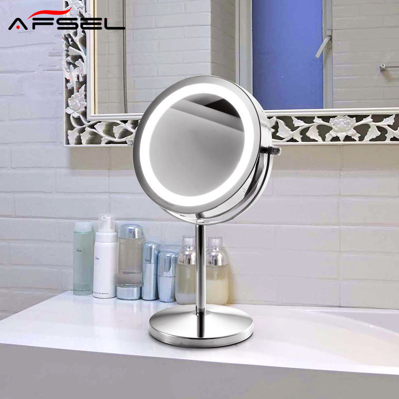 AFSEL Brand 7 Inch LED Table Mirror Double Sided Makeup Mirror Lighted Cosmetic Mirror 5X/10x Magnification AAA Battery HD afsel 7 inch makeup mirrors led wall mounted extending folding double side led light mirror 5x magnification bath toilet mirror
