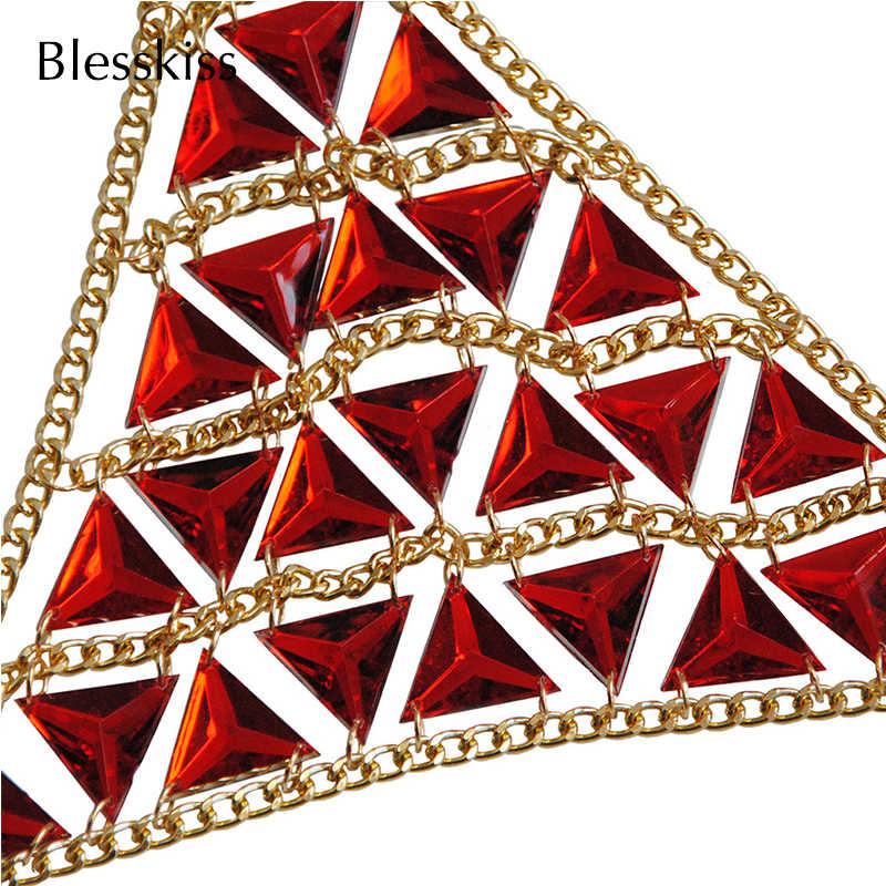 Blesskiss rojo diamantes de imitación diamante Bikini nadar Bra mujer Sexy de traje de baño trajes Halter Tops