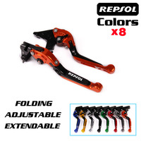 For HONDA CBR 1000RR CBR1000RR 2008 2016 Motorcycle Adjustable Folding Extendable Brake Clutch Levers logo REPSOL