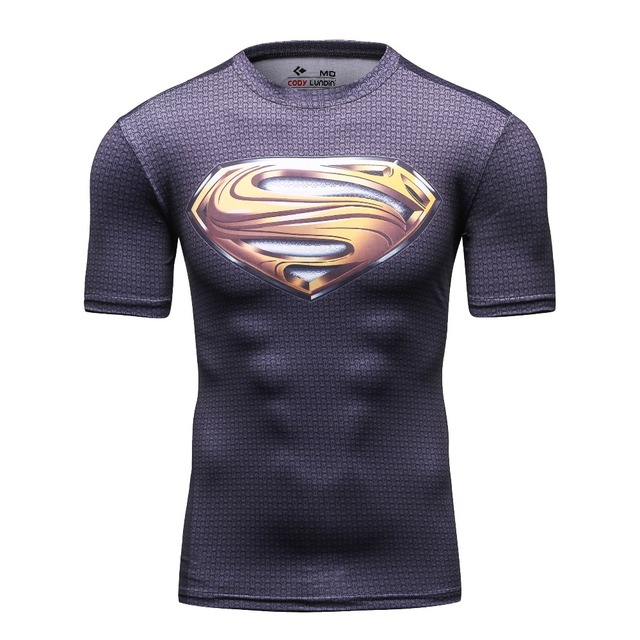 1e6042606 2016 New Wholesale Summer Mens Costume Short Sleeve Bodybuilding Camisetas  Fitness Marvel Super Heroes Superman Gold Logo Shirt