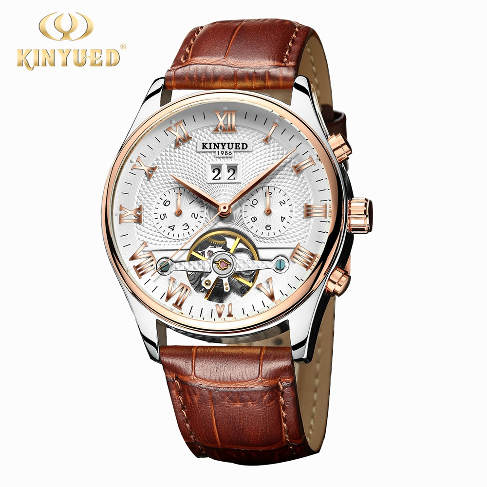 Kinyued Mechanical Watch Skeleton Tourbillon Automatic Men Classic Rose Gold Leather Mechanical Wrist Watches Reloj Hombre J010P new kinyued skeleton tourbillon mechanical watch automatic men classic rose gold leather mechanical wrist watches reloj hombre