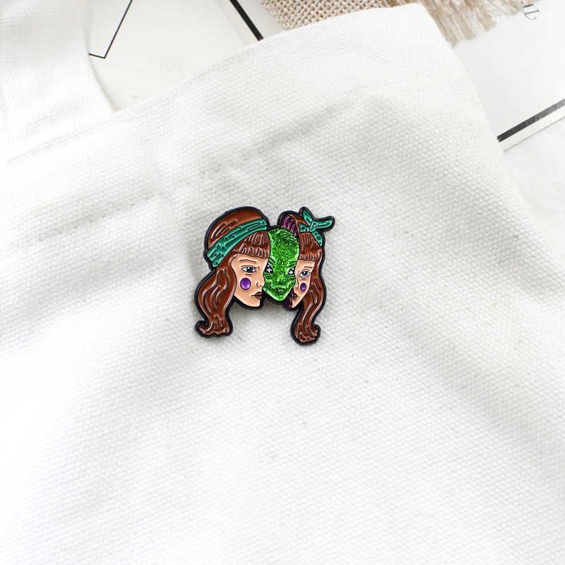 新 2 の髪女の子美しい顔ブローチガールグリーンマスクモンスターブローチ漫画ハロウィンギフトファッション合金小 p