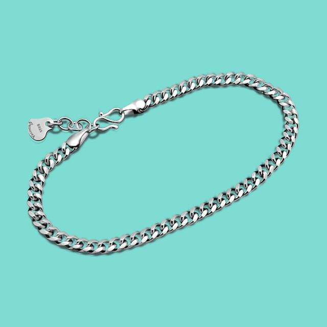 Fashion Men S Pure 925 Silver Bracelet Simple Style Whip Bracelet